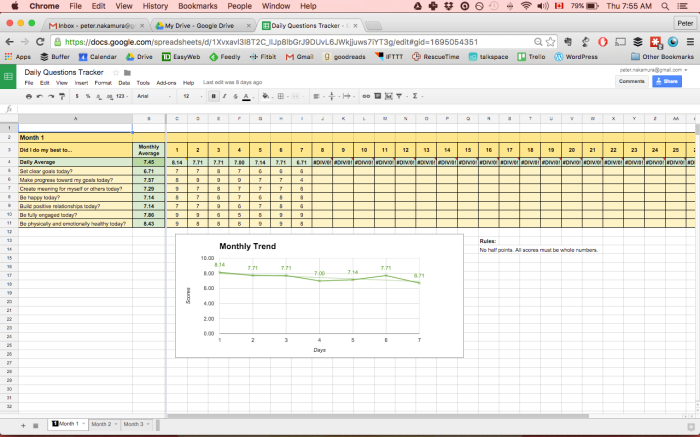 Screenshot of sample spreadsheet