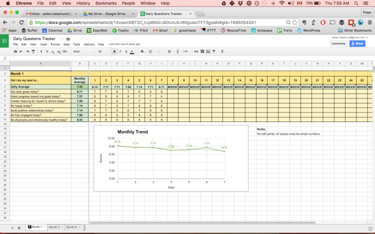 Screenshot of sample spreadsheet