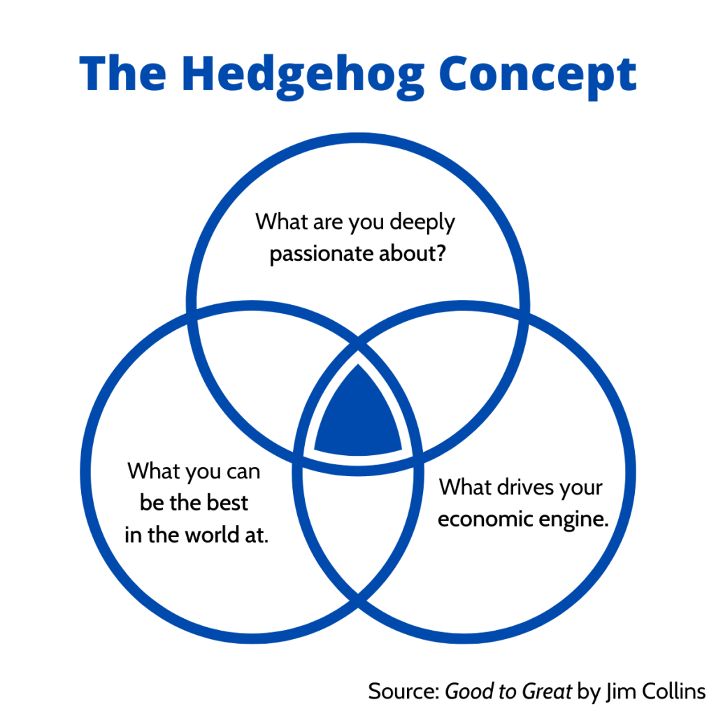 An image of the three rings of The Hedgehog Concept.
